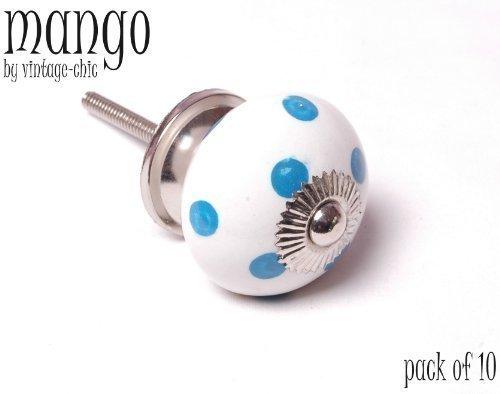Bouton rond Blanc à Pois Bleu/pois en céramique en forme de bouton de placard avec Base Chrome 40 mm Lot de 10