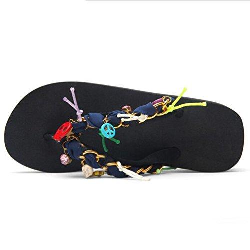 Yiiquan Damen Sommer Pantoffeln Böhmen Ornaments Flip Flop Schuhe Flache Sandalen Schwarz