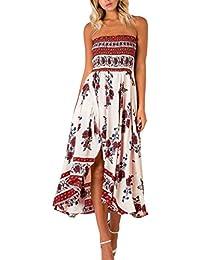 797f7c6c3d1 Winfon Femme Robe d été Chic Robe été Imprimé Floral Sexy Boho Épaules ...