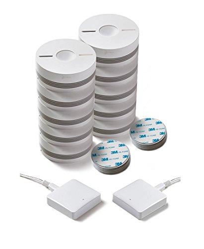 funk rauchmelder 10er set Rauchmelder 10er Set (VdS - DIN EN 14604) - Funk Vernetzbar - Dual + 2x WLAN Gateway + Magnethalterung + Lithium 10 Jahres Batterie von iHaus Smart Home