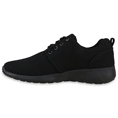 Damen Sport Übergrößen Trendfarben Runners Sneakers Lauf Fitness Prints Schuhe 132202 Schwarz All 44 Flandell - 2