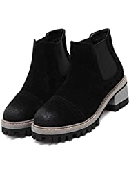 5.5CM Chunkly Heel Chelsea Boots Femmes Handsome Round Toe Seude Elastic Band Ankle Boots Casual Shoes 2017 Automne Hiver New Eu Taille 34-40