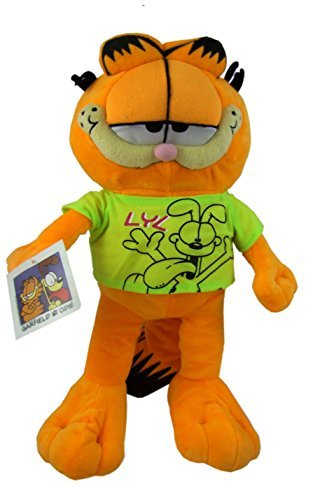 """Garfield - Plush Toy cat Garfield with T-Shirt Green soft toy - 11,80"""" (30cm) - Good Quality"""