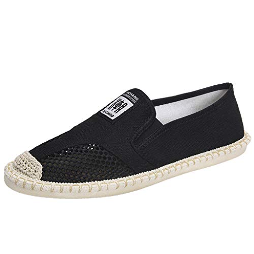 Lucky Mall Herren Mode Einfarbige Durchbrochene Hanf Flache Schuhe, Männer Atmungsaktive Sandalen Sommer Lässige Schuhe Outdoor Strandschuhe rutschfeste Freizeitschuhe