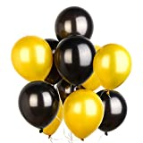 PuTwo Doré Noir Ballon, 100pcs 12 Pouces Or Ballon Baudruche Noir Ballons Latex pour Gatsby Decoration, Fete Hollywood, 1920 Accessoires, Deco Theme Vin, Deco Fete Or Noir, Eid Mubarak Decoration