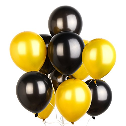 (PuTwo Luftballons Schwarz Gold, 100 Stück 12 Zoll Luftballons Gold Gold Ballons Luftballons Schwarz Ballons schwarz, Latexballons für Hollywood Party, Disco Party, 70s Party, Oscar Party, Gatsby Party)