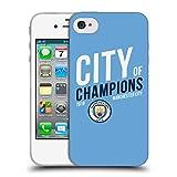 Head Case Designs Officiel Manchester City Man City FC Ville 2019 Champions Étui Coque en Gel Molle pour iPhone 4 / iPhone 4S