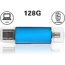 Dual USB conectores para otg-functional Android teléfono/PC, 128GB unidad Flash USB OTG para teléfonos móviles y Tablet PC (azul) Compatible con SAMSUNG GALAXY S4/S3/S2/Galaxy Note 3/Note 2/Galaxy Tab 3/LG Optimus G/L9/Motorola Xoom/Razr/Blackberry Z10/Q10/PlayBook/HTC One/X/Nokia Lumia 920/Asus Google Nexus 7/Asus Memo Pad/PS3, portátil y Tablet