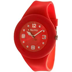 Nuvo - NU13H15 - Unisey Armbanduhr vom Armband abtrennbar - Rotes Zifferblatt - Rotes austauschbares Armband aus Silikon - Modisch - Elegant - Stylish