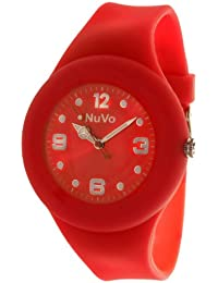 NuVo - NU13H15 - Montre Mixte détachable du bracelet  - Cadran Rouge - Bracelet Silicone Rouge changeable