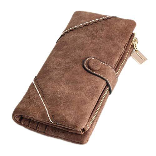 Fashion Damen Brieftasche Geldbörse Telefonkarte Brieftasche Leder Brieftasche Frau Peeling Lange Brieftasche Vintage Schnalle Spitze Brieftasche, Kaffee