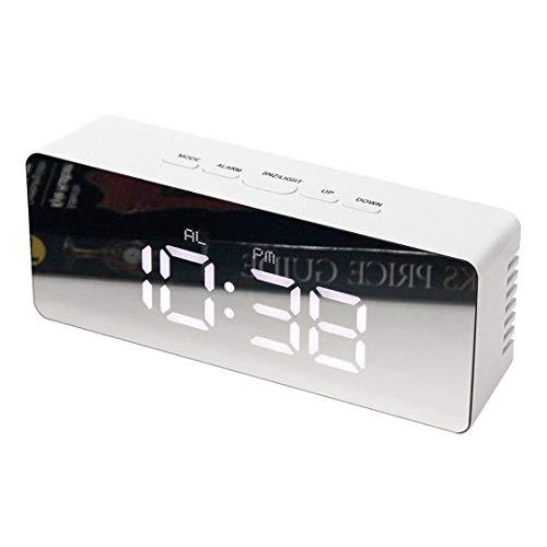 BAIJJ Digitaler weißer LED-Spiegelwecker mit Temperatur für Frauen-quadratische LED-Licht-Wort-Tabellen-Zeit-Nachttischuhr mit USB-Kabelrechteck (Wort Zeit)