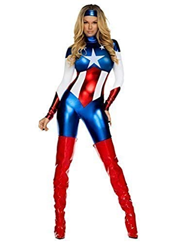Damen Qualität Reizvolle Captain America Kostüm, Weiss Blau und Rot - Größe ()