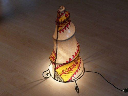 Marokkanische Henna Leuchte orientalische Stehlampe aus Leder Marrakesch- 60 cm