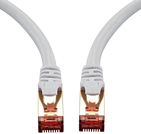 Ethernet Gigabit Lan Network Cable (RJ45) Advanced CAT 7 |Gold Connectors| 10Gbps 600MHz |10/100/1000Mbit/s | Patch cable | STP | compatible with CAT.5 / CAT.5e / CAT.6 | Switch/Router/Modem/Patch panel / Access Point / patch fields | 20M IBRA Round White