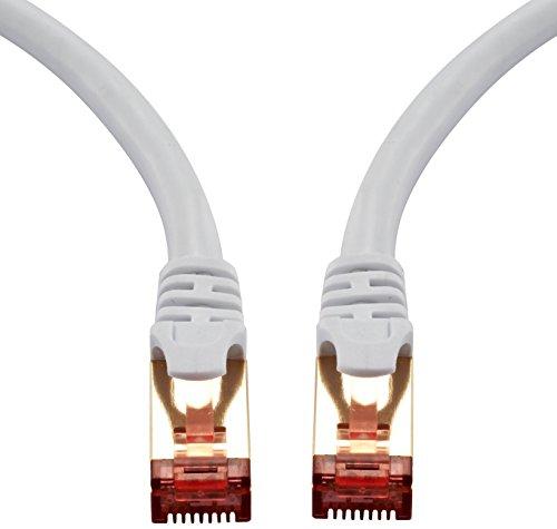 15m - CAT.7 Ethernet Gigabit Lan Netzwerkkabel (RJ45) | 10Gbps 600Mhz (10/100/1000Mbit/s) | Patchkabel | STP | kompatibel zu CAT.5 / CAT.5e / CAT.6 | Switch/Router/Modem/Patchpannel/Access Point/Patchfelder | IBRA Runde Weiß