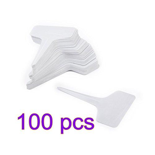 Lcck 100pcs plastica etichette t-tipo per sementi di piante da giardino vivaio–bianco