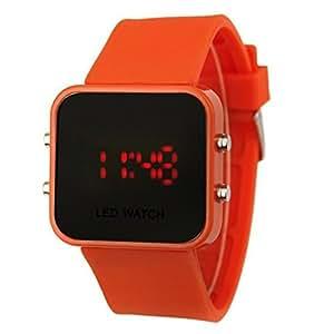 AIO style de sport de luxe LED Digital Montre Miroir - orange