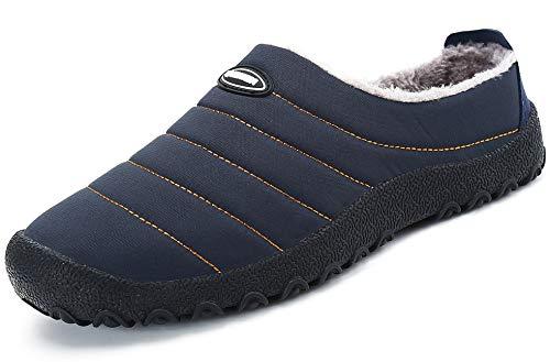 katliu Warme Hausschuhe Herren Damen Gefüttert Pantoffeln Winter Outdoor Freizeit Schuhe,Blau 44
