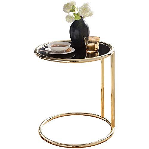 FineBuy Design Beistelltisch Leonie Ø 45 cm Couchtisch rund schwarz/matt Gold | Designer Glas-Wohnzimmertisch modern | Glastisch mit Metallgestell | Kleiner Sofatisch | Runder Metalltisch Wohnzimmer