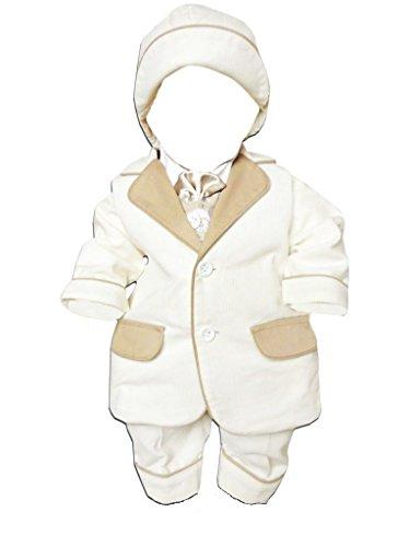 6tlg. Anzug mit Jacket, Hemd, Hose, bestickter Weste, Fliege und Mütze, für die Taufe, Hochzeit und alle anderen Anlässe, Taufanzug für Baby Babys Jungen, L27 Gr. 80/86