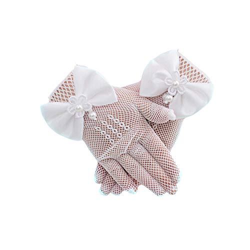 Cosanter Hochzeit Handschuhe mit Bowknot, Weiße Stretch Mesh-Handschuhe 1 Paar für Mädchen unter 14 Jahre alt
