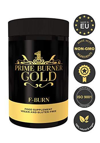 Prime Burner Gold | Suplemento Dietético 100% Natural Para Keto Dieta| Fórmula Activa | Ingredientes Naturales Quemagrasas | Vegano | Certificado Por Laboratorio | 90 Cápsulas | Fabricado en la UE
