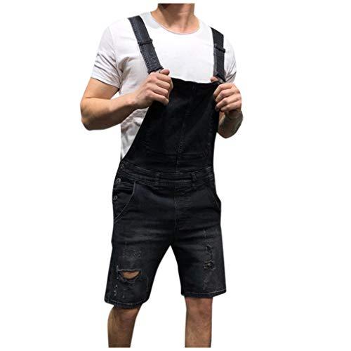 STRIR Peto Corto Hombre - Pantalones Cortos de Mezclilla Peto Vaquero para Hombre Pantalones Cortos de Mezclilla Verano Mono Jeans de Trabajo (XXXL, Negro#0510D)