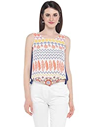 Akkriti By Pantaloons Women's Rayon Tunic Top (205000005872297_White_Large)