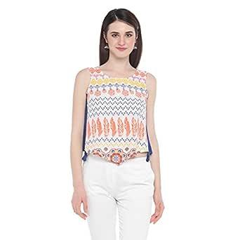 Akkriti By Pantaloons Women's Rayon Tunic Top (205000005872297_White_Large)