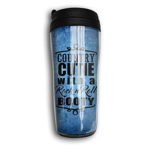 Country Cutie With Rock N Roll Booty Curved Coffee Mug Travel Cup 12 ounce Multicolor4 - Designs Down Bootie