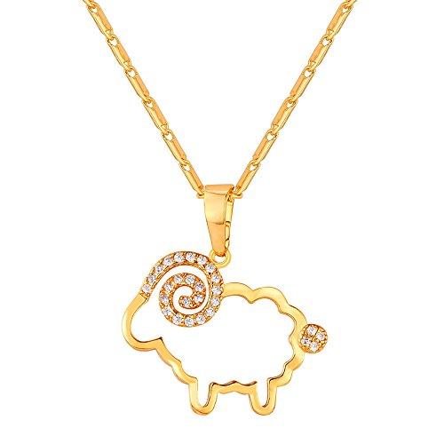 U7 Gold Ton Hohl Schaf Schäfchen Anhänger Halskette 18k vergoldet Cubic Zirkonia Tier Form Modeschmuck mit Geschenkbox für Damen Mädchen (Halloween Schwanz U)