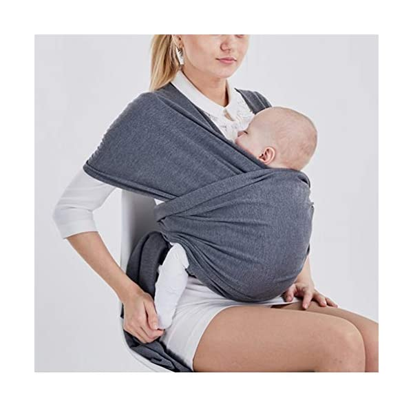 Baby Wrap Carrier Baby Carrier Outdoor Infant Carrier Portable Baby Wrap Hands Free Babies Carrier Wrap Baby Shower Gift Dark Grey TrifyCore USING: Easy to use for new baby wearing moms! BENEFIT: The right amount of elasticity also keeps your baby safe and snug in the wrap without having to constantly readjust the wrap. FUNCTION: Disperses baby's weight,relieve mother's pressure of shoulder, waist and abdomen. 3