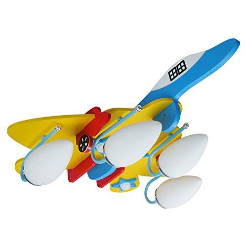Geführte hölzerne Flugzeug-Deckenleuchte, umweltfreundlicher Leuchter E14 * 4 des Kinderzimmer-Augenlicht-Mädchenjungen-Schlafzimmer-Beleuchtungs-Befestigung - Messing Schwarz Schatten Leuchter