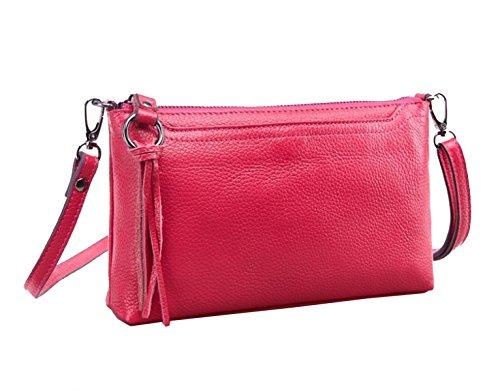 La Moda Yy.f Primo Strato Di Borsa Di Pelle Borsa A Tracolla La Signora Messenger Bag Clutch In Pelle Delle Donne Sacchetti Di Colore Solido Multicolore Pink
