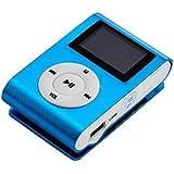 Malloom® Mini USB clip Reproductor de mp3 pantalla LCD Soporte 32GB Micro Tarjeta SD TF (Azul)