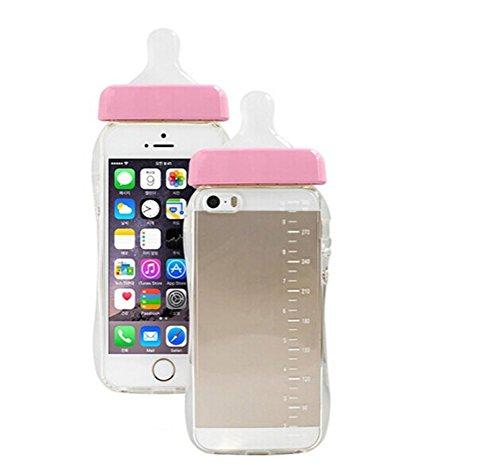 Hosaire Coque Soft TPU Silicon Coque Transparent étui Cover pour iPhone 6/6S Créatif Bouteille de Lait Téléphone Coque Case Housse étui pour iPhone 6/6S -Rose Rose