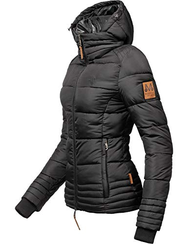 Marikoo Damen Winterjacke Stepp-Jacke Sole Schwarz Gr. XL