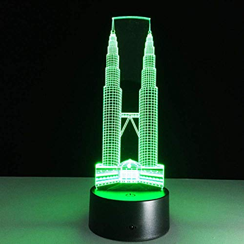 Twin Towers Building 7 Farblampe 3D Visual Led Nachtlichter Für Kinder Touch Usb Tisch Lampara Lampe Baby Sleeping Night Light -