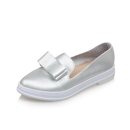 AgooLar Damen Ziehen Auf Niedriger Absatz Pu Leder Rein Rund Schließen Zehe Pumps Schuhe Silber