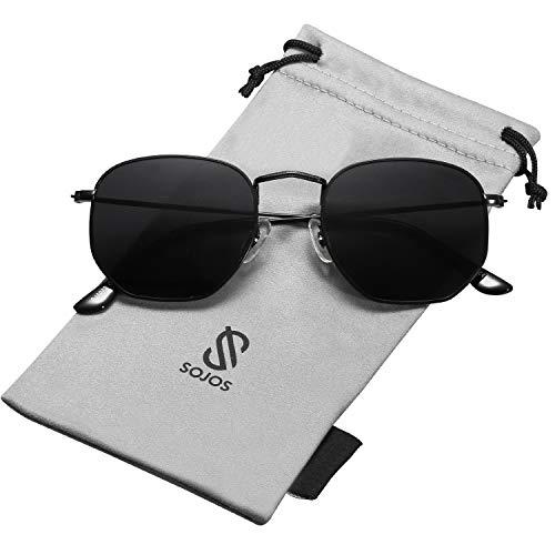 Sojos retro vintage specchio polarizzate lenti poligono protezione uv occhiali da sole sj1072 con nero telaio/grigio lente