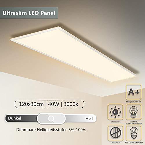 Hunter Mason Plafonnier LED Panneau dimmable 120 x 30 CM 40W Applique Murale Blanc chaud Lampe LED Luminaire encastré Ultraslim avec cadre blanc
