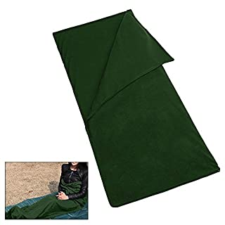Pawaca Double Zipper Polar Fleece Sleeping Bag Lightweight,Comfort with Compression Sack Sheet Camping Sleep Sack For Summer Camping or Liner For Winter, Micro-Fleece Blanket Army Green (180*150)