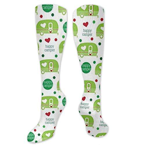 Happy Camper Hiking Trekking Socks Casual Knee High Socks for Running,Medical,Athletic,Edema,Travel compression socks