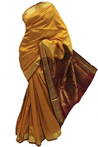ASB3649 senape e marrone Arte della Seta Saree Indian Art Silk Saree Curtain Drape Fabric senape