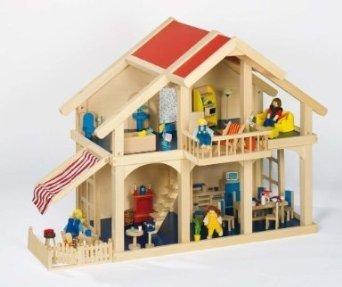 Großes Holz-Puppenhaus, Villa mit Veranda und Balkon, komplett mit Möbeln für 4 Zimmer