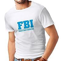T shirts for men Female Body Inspector - FBI - joke quotes, funny slogans (Small White Blue)
