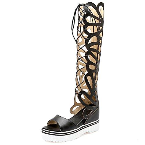AIYOUMEI Damen Denim Peep Toe Keilabsataz Sommer Stiefel Römersandalen mit Schnürung und Plateau Sommer Elegant Schuhe - Denim Peep-toe