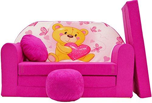 PRO COSMO H3Kinder Sofa Bett mit Puff/Fußbank/Kissen, Stoff, Mehrfarbig, 168x 98x 60cm -