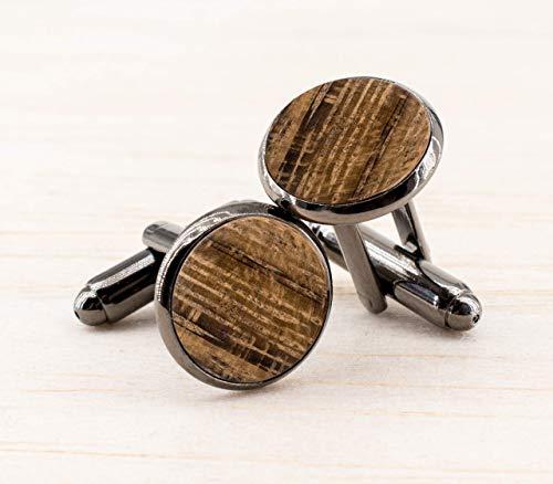 Echtholz Manschettenknöpfe Herren Schmuck zur rustikalen Landhochzeit Geschenk für Männer Holz Handgemacht titanschwarz